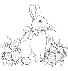 easter bunny on green grass easter eggs children vector image