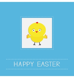 Easter chicken Dash line frame Blue background vector image