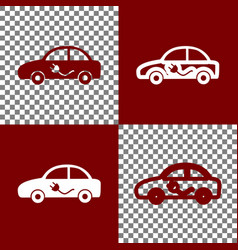 electric car sign bordo and white icons vector image