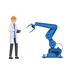 Engineer operate robotic arm flat vector