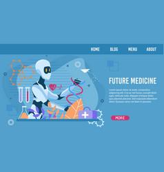 flat landing page advertising future medicine vector image