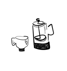 French press and coffee cup vector
