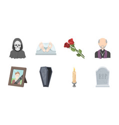 funeral ceremony icons in set collection for vector image