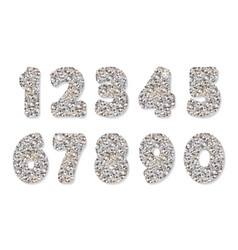glitter silver numbers vector image