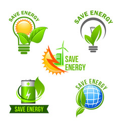 Green eco power and energy saving symbol set vector
