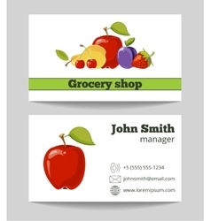 Grocery shop business card template vector