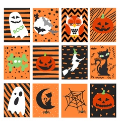Halloween postcard set vector