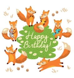 Happy birthday card with cute foxes in vector