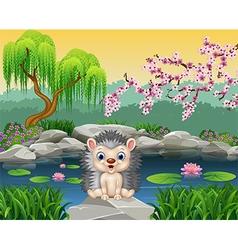 Happy hedgehog sitting vector image
