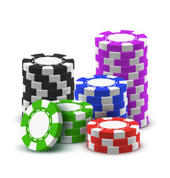 heap sport poker chips or 3d stack casino cash vector image
