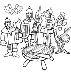 Knights round table coloring page vector