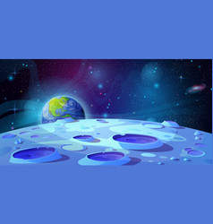 landscape moon planet with craters outer space vector image