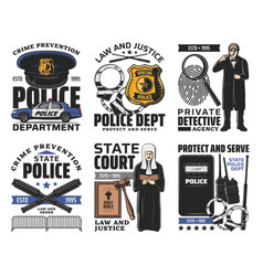 Law and order jurisprudence and police icons vector