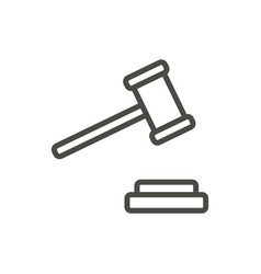 lw gavel icon line court symbol vector image