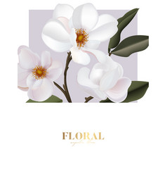 magnolia flower card with gold text wedding vector image