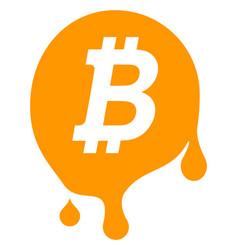 Melting bitcoin flat icon symbol vector