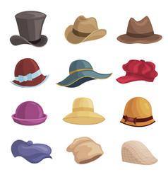 men and women hats flat set vector image