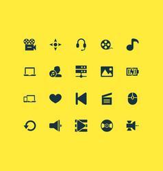 multimedia icons set with satellite vinyl vector image