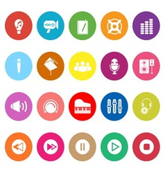 Music flat icons on white background vector image