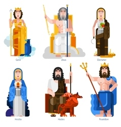 Olympic Gods Decorative Icons Set vector