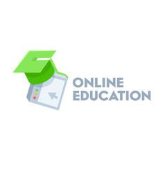 Online education banner with green academic cap vector