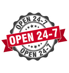 open 24 7 stamp sign seal vector image