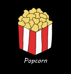 popcorn on black background vector image