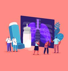 Pulmonology asthma disease tiny characters vector