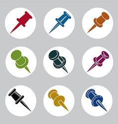 Push pins icons set simplistic symbols collection vector