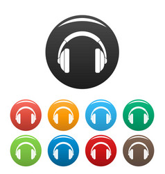 rap headset icons set color vector image