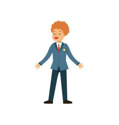 Redhead boy character in school uniform vector