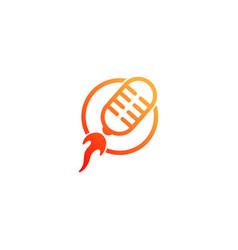 Rocket podcast logo design template vector