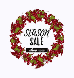season sale desiign with viburnum wreath vector image