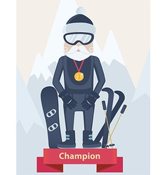 Senior man winter sports champion concept vector image