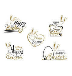 set easter lettering easter bunny and easter eggs vector image