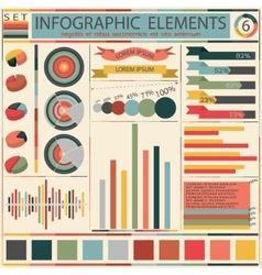 Set elements of retro infographics vector image