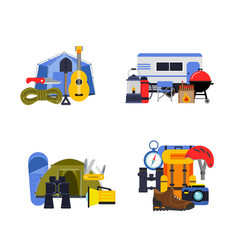 set flat style camping elements piles vector image