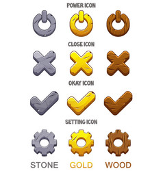 set icons for game checkmark options ok vector image