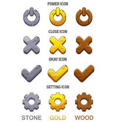 Set icons for game checkmark options ok vector