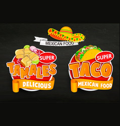 Set od traditional mexican food logos emblems vector