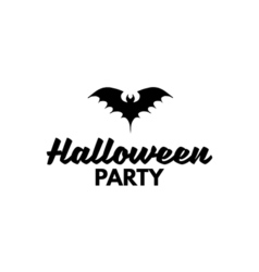 silhouette of a bat sign halloween party badge vector image