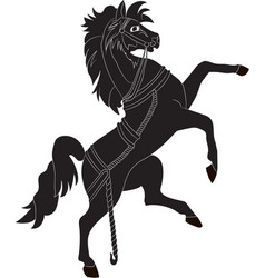 Silhouette of a rearing horse vector