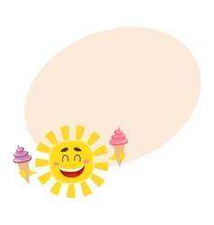 Smiling happy sun holding ice cream isolated vector