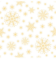 snowflakes golden xmas design vector image