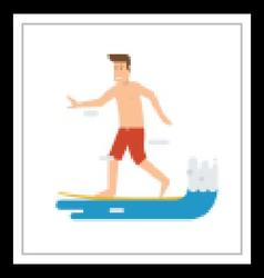Surfer Man Riding on Wave vector image