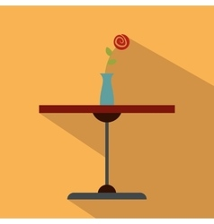 Table with vase flat icon vector