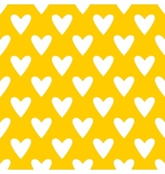 Tile pattern with white hearts yellow background vector