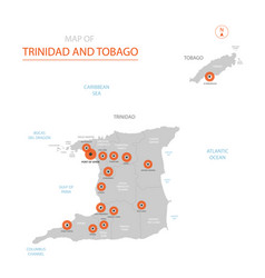 trinidad and tobago map with administrative vector image