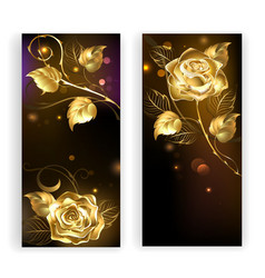 Two Banners with Gold Roses vector