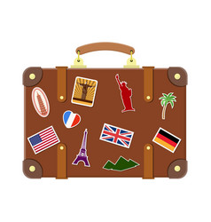 vintage old travel suitcase vector image